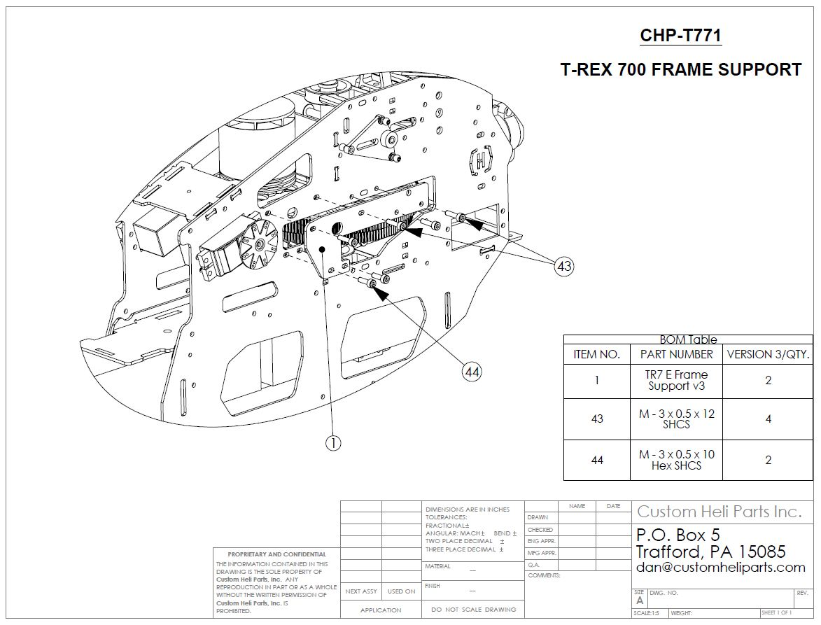 (CHP-T771) T-REX 700 E FRAME SUPPORT