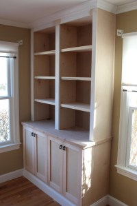 built in bookcase with doors - Custom Home Finish