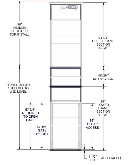 TL-M Series VRC Lift front view diagram