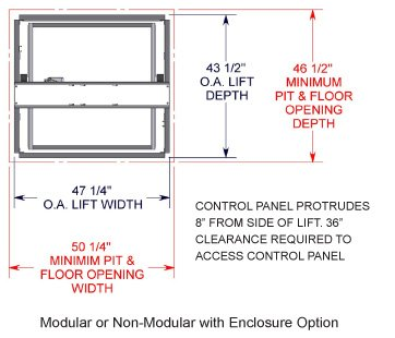 TL-M Series VRC box lift Top view diagram