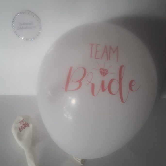 team bride white and gold latex balloons