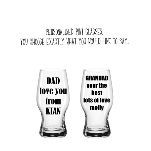 personalised DAD, birthday, any message pint glass