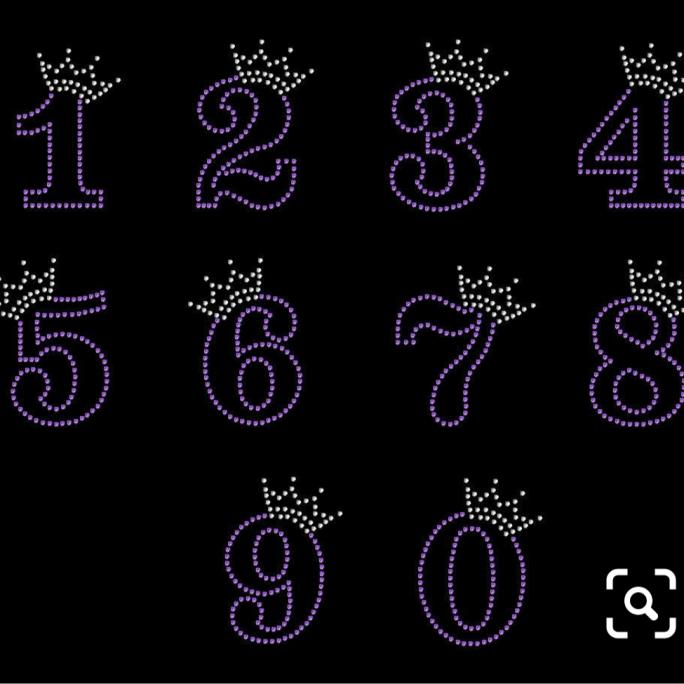 princess rhinestone numbers