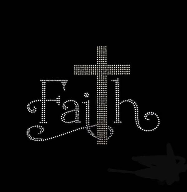 faith rhinestone transfer