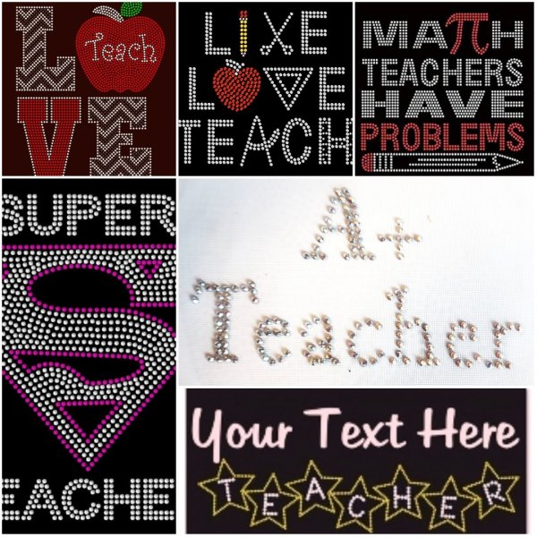 Teacher rhinestone transfers