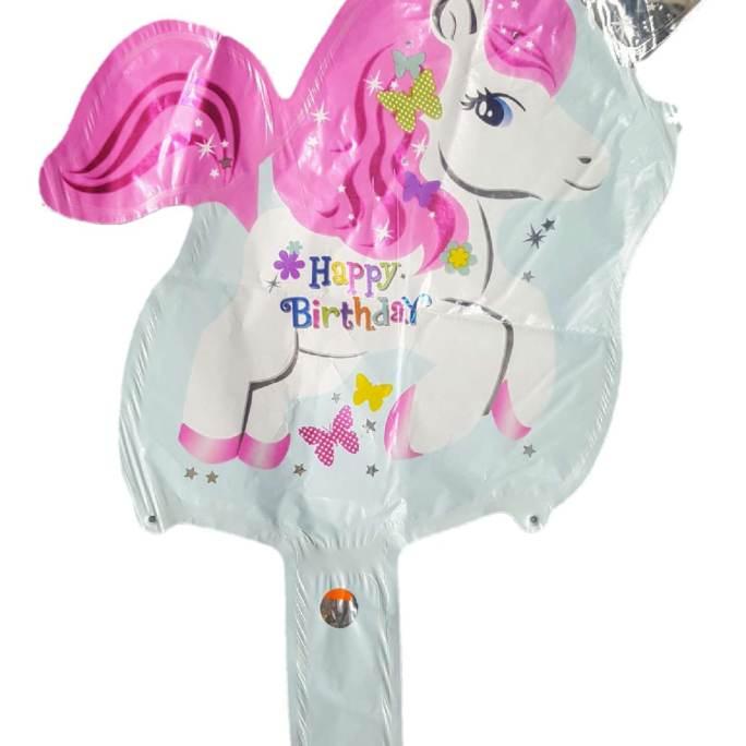 unicorn handheld baton foil balloon