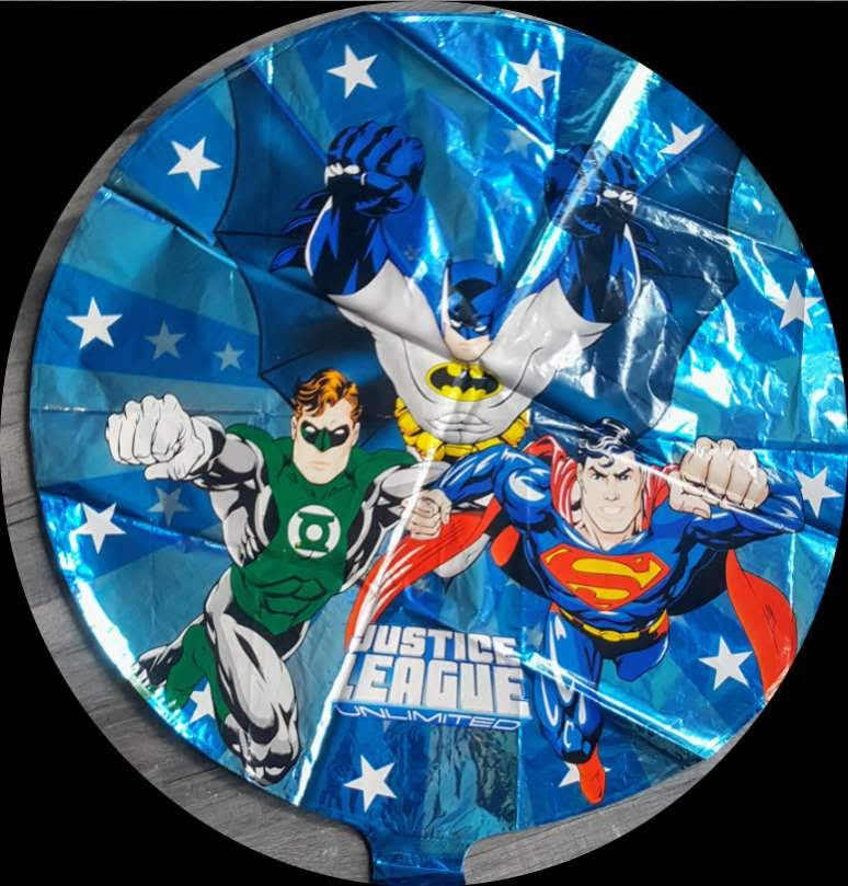 "retro justice league round foil balloon 18"""