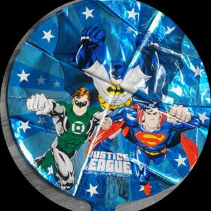 retro justice league round foil balloon 18""
