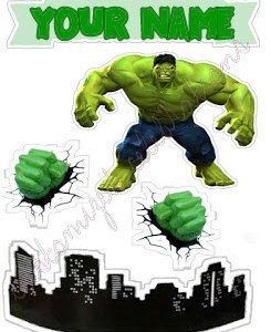 personalised hulk superhero cake toppers