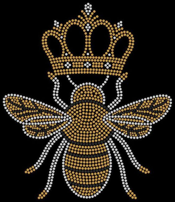 queen bee rhinestone transfer