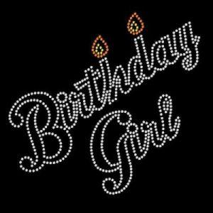 birthday girl rhinestone with candles