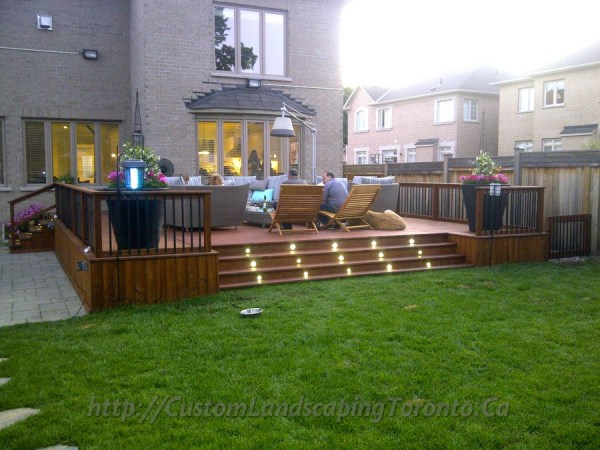 2 decks with interlock and landscaping