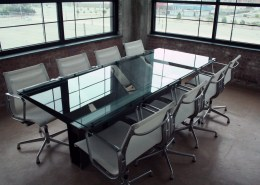 Metal and Glass Conference Table Buffalo Rising Office