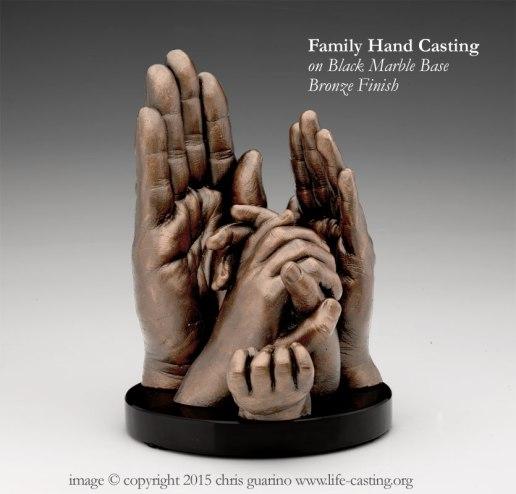 Family Hand Casting on Black Marble Base