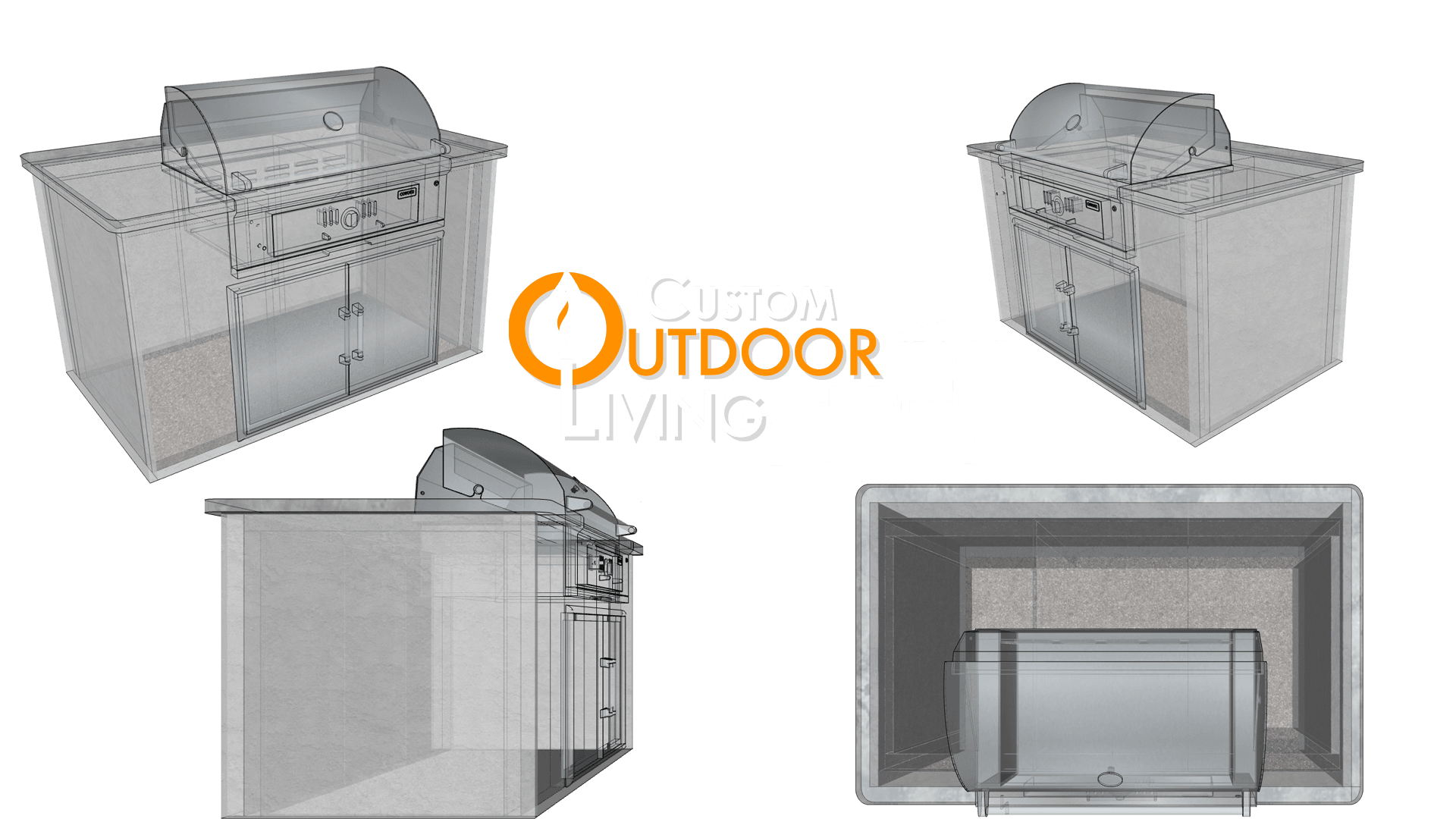 Compact Linear Outdoor Kitchen Design Layout Configuration Drawing - Custom Outdoor Living of Las Vegas, Nevada