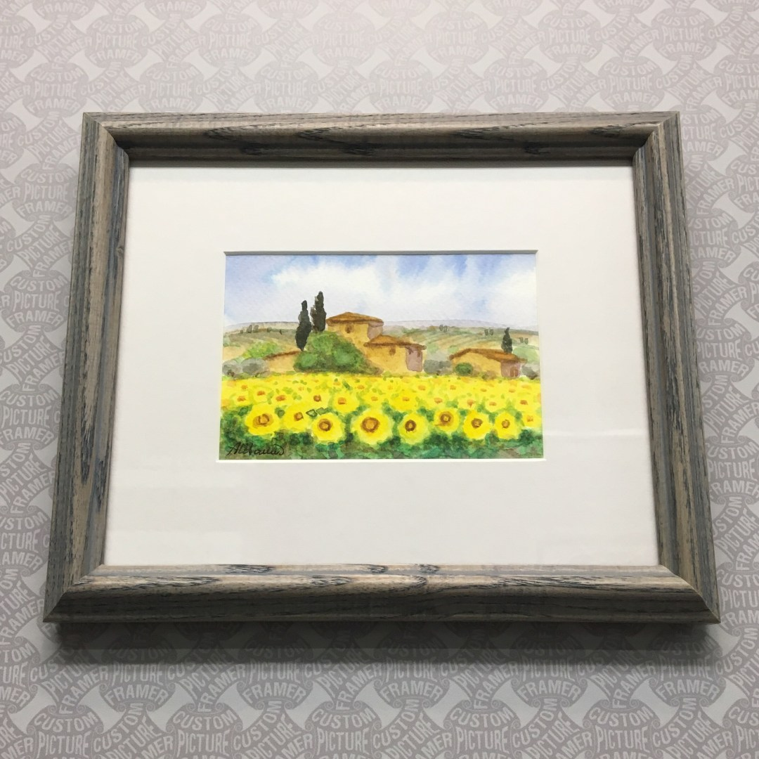 """Adorable Small Scale """"Sunflowers"""" - Italian Watercolor Custom Framed ..."""