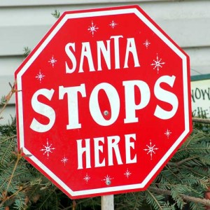 santa stops here christmas holiday custom sign
