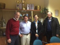 Louis Mattia (Dyntell), Bob Cusack (CSS COO), Linda Egyed (Fino Food CEO) and Istvan Jozsa (Dyntell VP of Sales) at Fino Foods Milk and Cheese processing plant