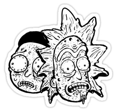 Rick and Morty zombie BW Decal Sticker
