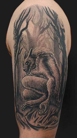 Native American Wolf Headdress Tattoo