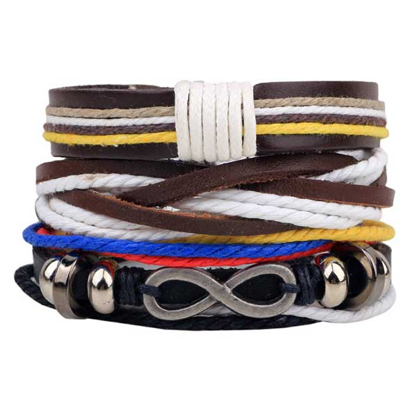 1-Set-4PCS-leather-bracelet-Men's-multi-layer-bead-bracelet