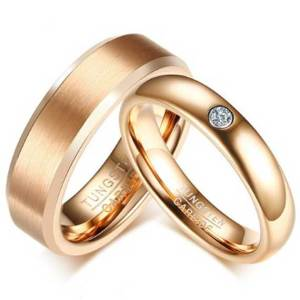 Elegant-Pink-Gold-Tone-Wedding-Bands-Ring-his-and-hers-couples