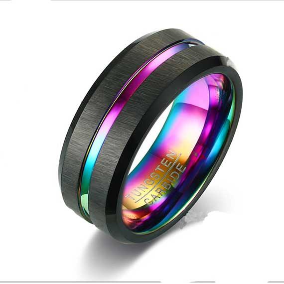 black-with-multi-coloured-single-stripe-8mm-mens-tungsten-ring