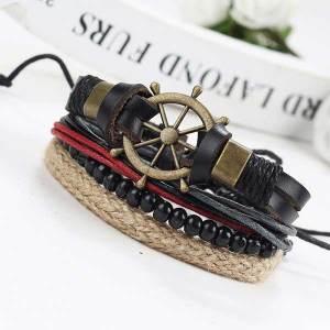 mens-leather-layered-bracelet