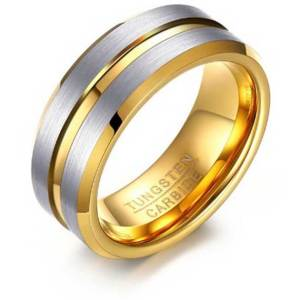 Gold-with-double-silver-stripe-Custom-Tungsten-Ring---Engrave-Wedding---Engagment---Dress---Promise-Band---Personalised-Promise-Engagement-Ring