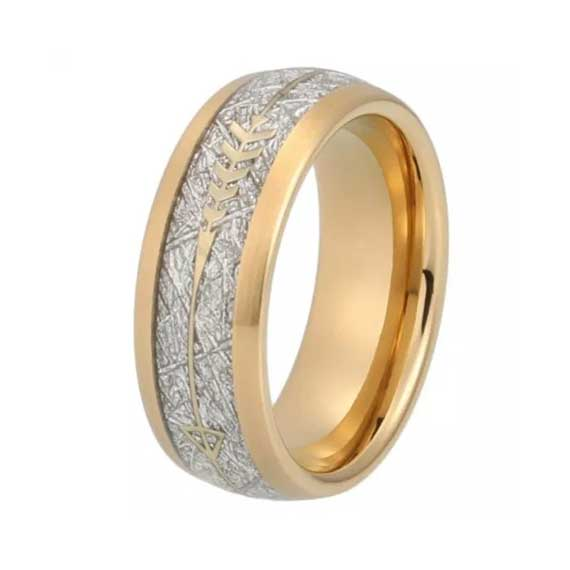 Mens 8mm Gold with Gold Arrow and Imitated Silver Meteorite Inlay Tungsten Ring