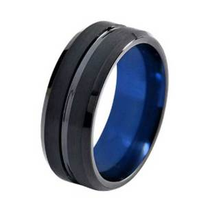 mens-8mm-black-with-blue-lining-polished-stripe-tungsten-ring