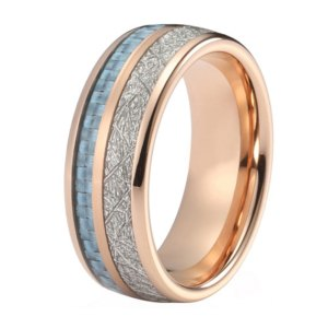 mens 8mm rose gold with blue carbon fibre and silver meteorite inlay tungsten ring