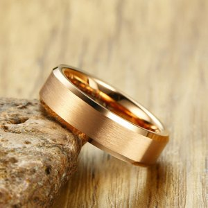 Mens 6mm Rose Gold Tungsten Carbide Ring