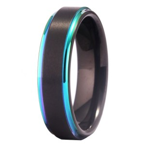 Woman's Black 6mm Tungsten Ring with Rainbow Edge