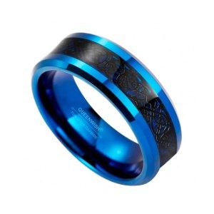 8mm Blue Tungsten Carbide Ring Black Celtic Dragon Inlay