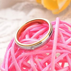 Woman's 4mm Gold and Silver Tungsten Ring Inlaid CZ Stone
