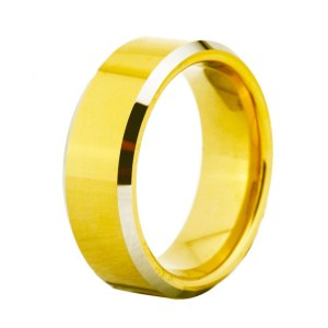 mens 8mm yellow party tungsten ring