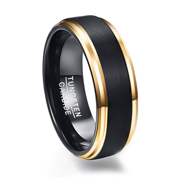 Mens 8mm Black Custom Tungsten Ring with Frosted Gold Edges