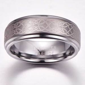 mens 8mm brushed silver with step edge and celtic knot pattern