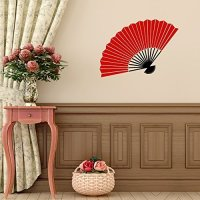 Vinyl Wall Decal Chinese Oriental Hand Fan Design