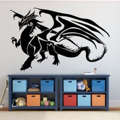 Yellow Grey Turquoise Living Room Cheap Makeover Ideas Dragon Wall Decals - Fantasy Decor, Medieval ...