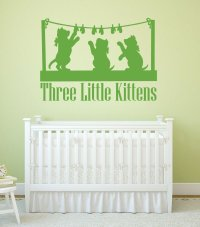 Nursery Rhyme Wall Decals - Three Little Kittens ...