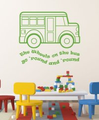 Nursery Rhyme Wall Decals - The Wheels on the Bus Song ...