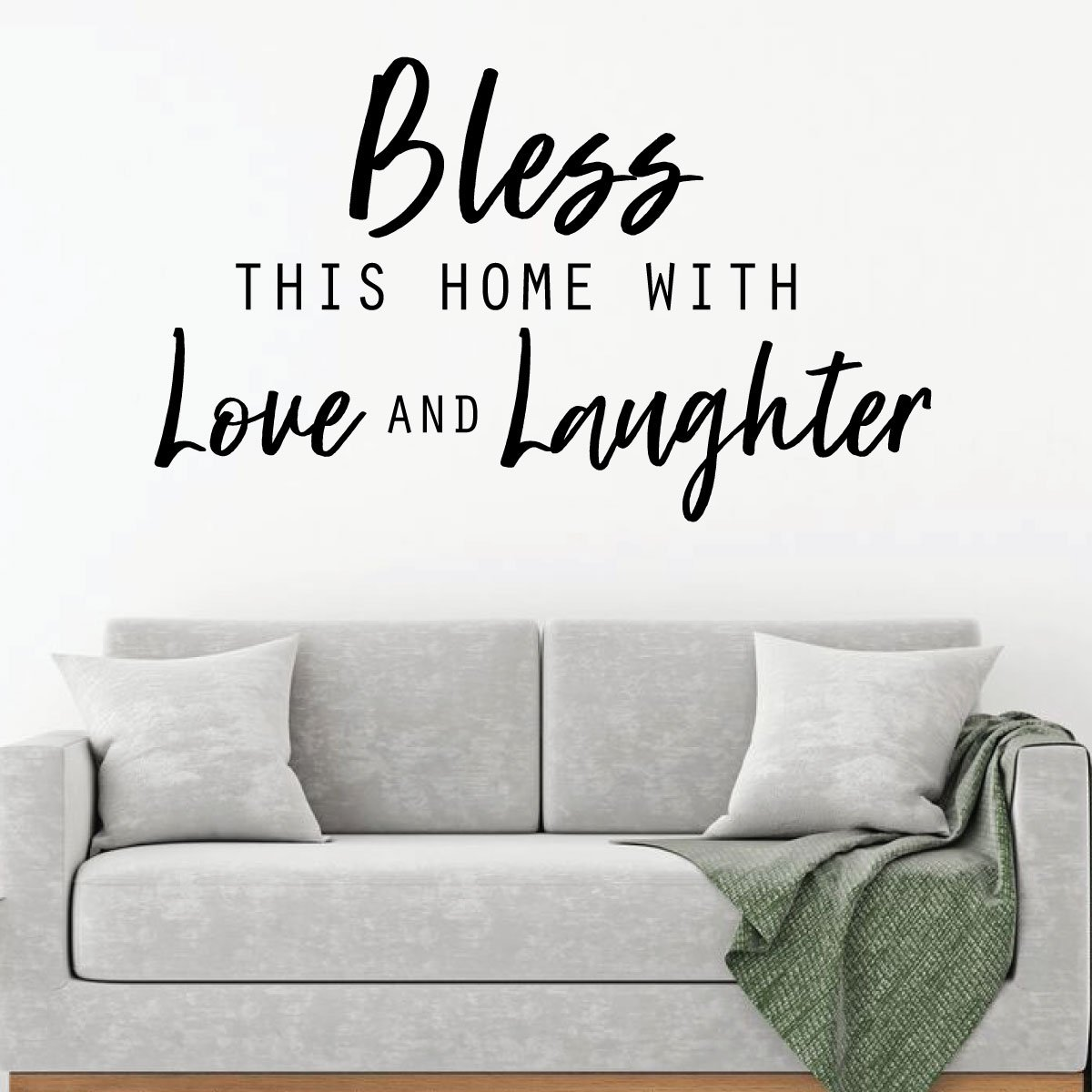 Family Bless This Home Quote Living Room Vinyl Decor Wall Decal