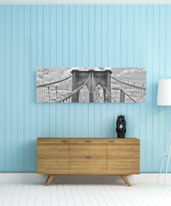 Lienzo puente de brooklyn en pared azul