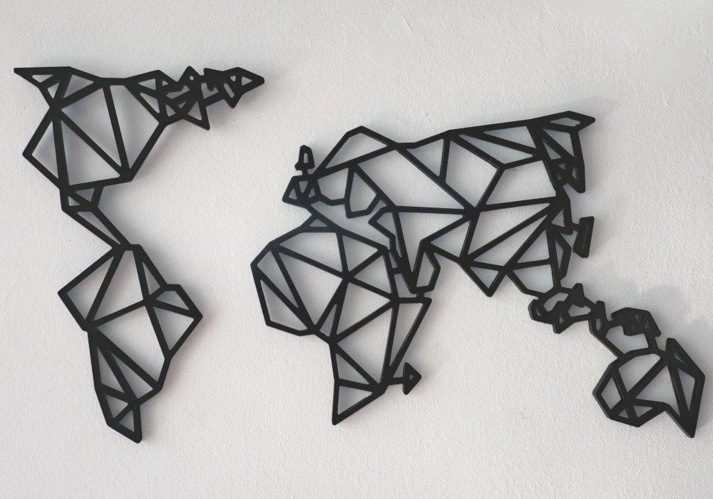 mapamundi geometrico decoración pared