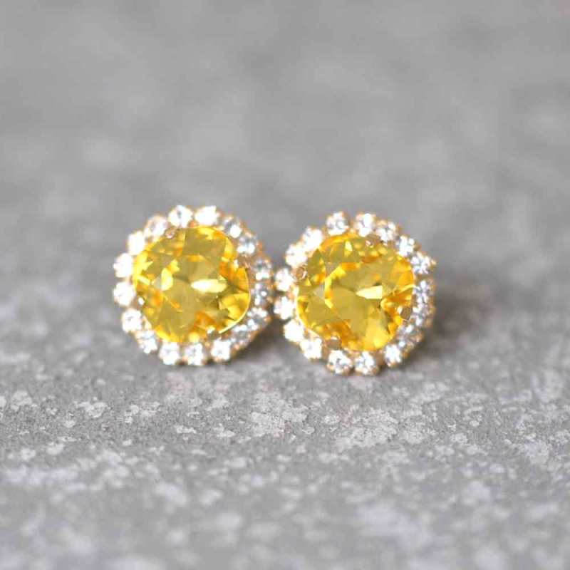 MASHUGANA-Diamond- Yellow Rhinestone Earrings-Sunglow-Yellow-Wedding Bouquet-Sunglow-Yellow--Custom-Wedding-Garters-Bridal-Garters-Prom-Garters-Linda-Joyce-Couture-Girly-Girl-Garters-Blog