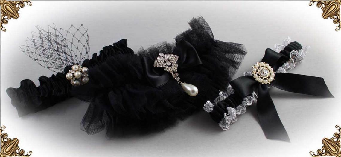 Black-Wedding-Garters-Bridal-Garter-Prom-Garters-Custom-Wedding-Garter-Linda-Joyce-couture