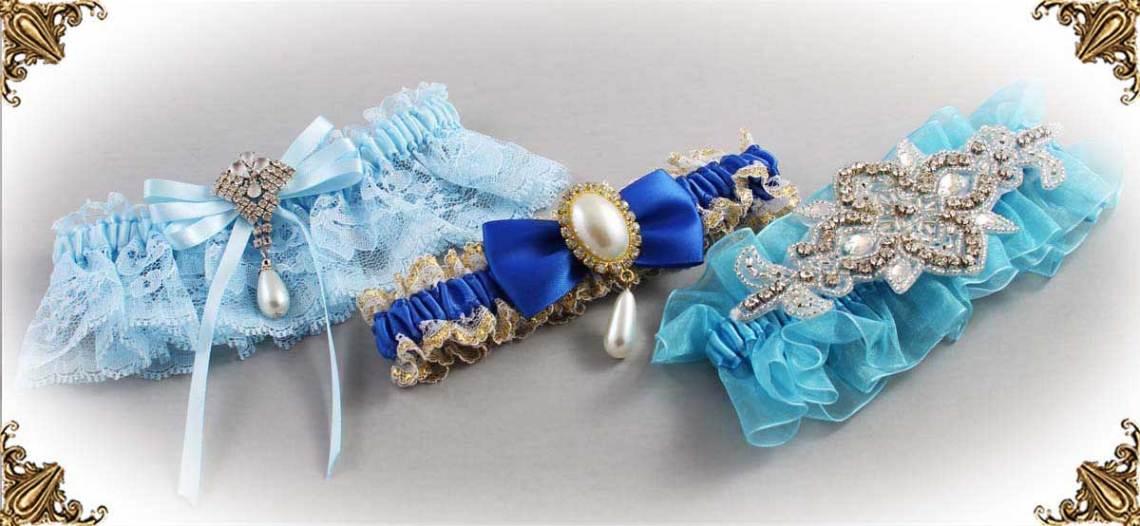 Solid Blue Wedding Garters-Linda-Joyce-couture