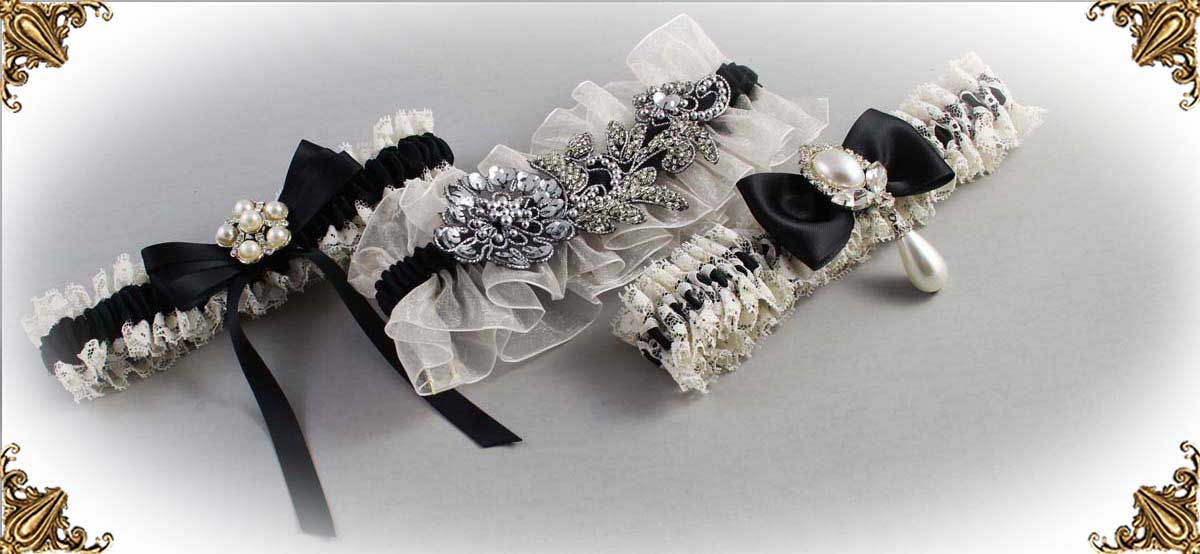 Ivory-Black-Wedding-Garters-Bridal-Garter-Prom-Garters-Custom-Wedding-Garter-Linda-Joyce-couture